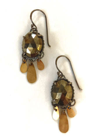 Handmade Pyrite Golden Drop Earrings