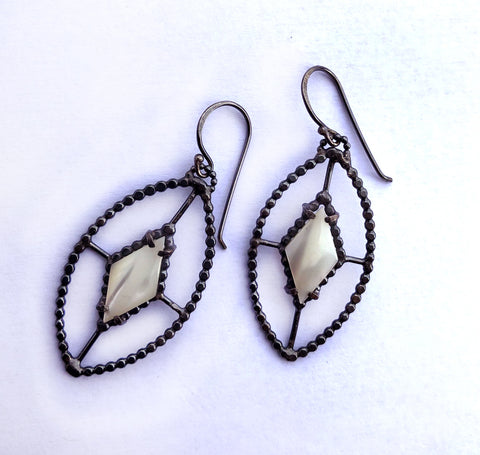 Handmade Sterling Silver and Pearl Shield Earrings