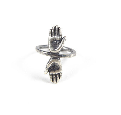 Handmade Silver Double Hand Talisman Ring