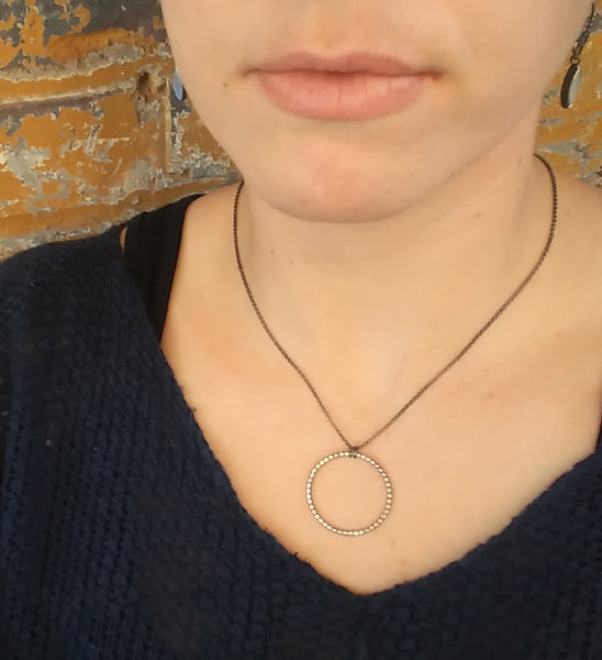 Handmade Sterling Silver Dotted Circle Necklace