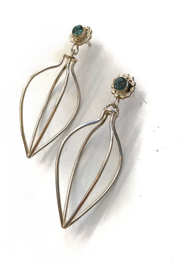 Handmade Topaz and Silver Vessel Earrings