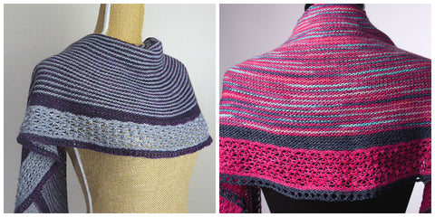 2 striped shawls side by side; one is gray and purple and the other a variegated fuchsia and navy. Both have a trinity stitch edging.