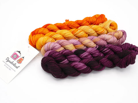 Blood Orange Hand Dyed Mini Skein Fade Set - In Stock