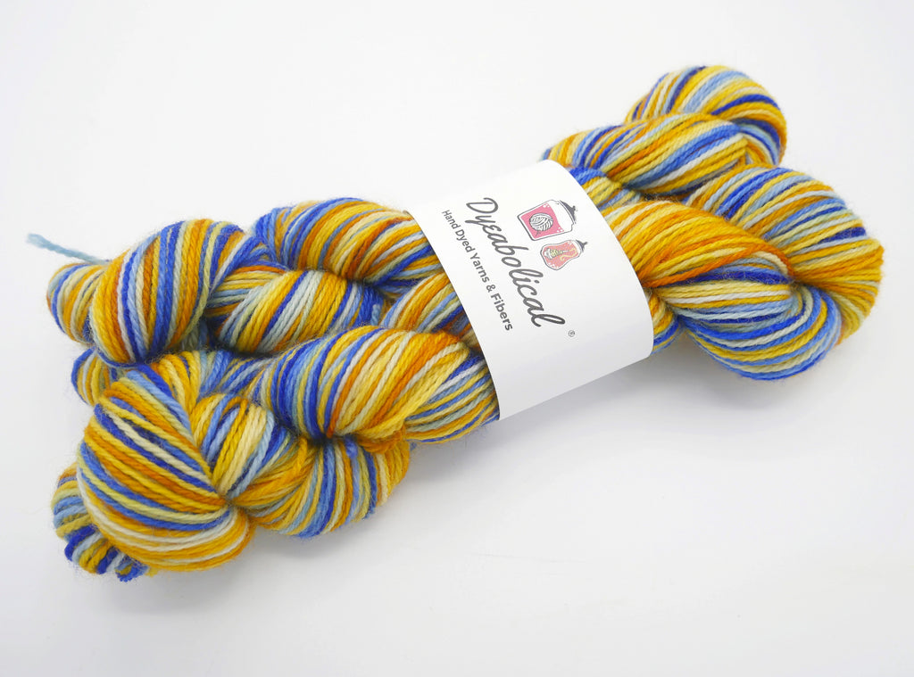 Very Starry Watercolor Stripes, Hand Dyed Sock Yarn - Sturdy Base - In Stock
