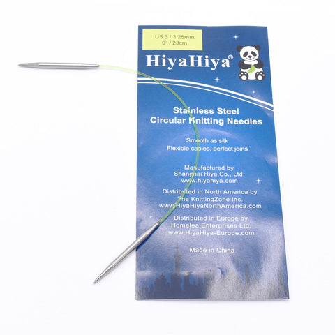 "US 00 (1.75 mm) 9"" sock circular HiyaHiya Stainless Steel Knitting Needle"