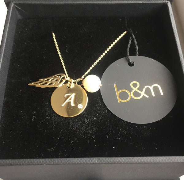 Angel Initial Necklace (Custom Letter)
