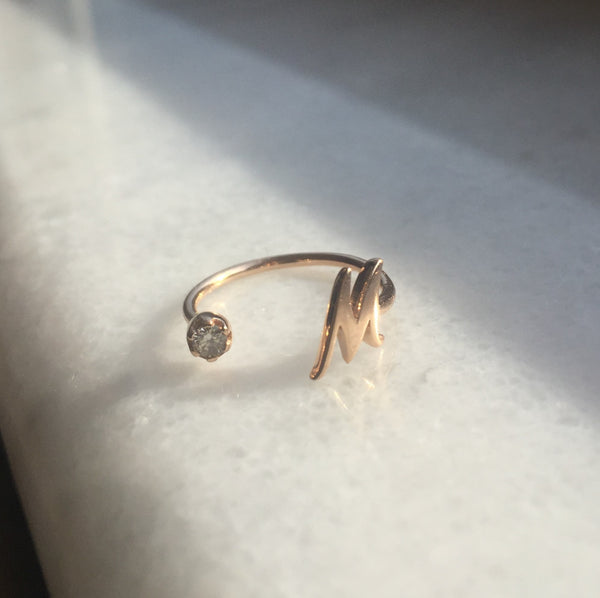 Moon Initial Ring (Custom Letter)