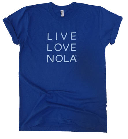 Live Love Nola Men's T shirt in Blue