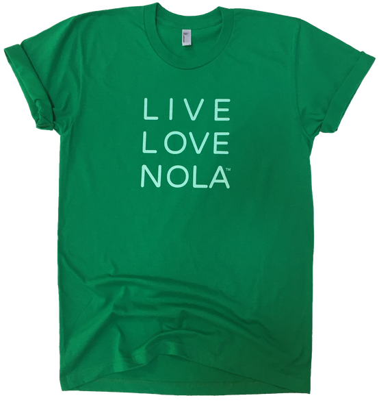 Live Love Nola Men's T shirt in Green