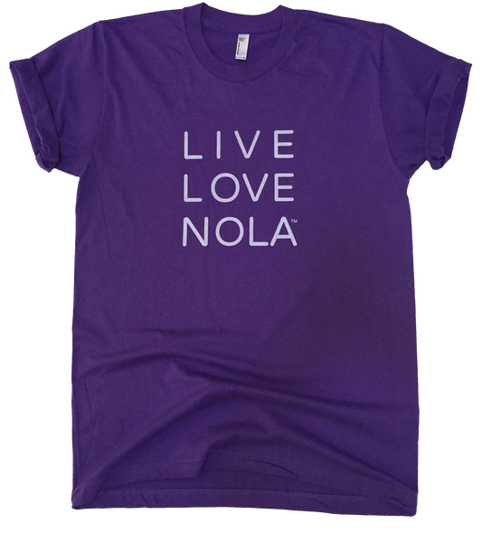 Live Love Nola Men's T shirt in Purple