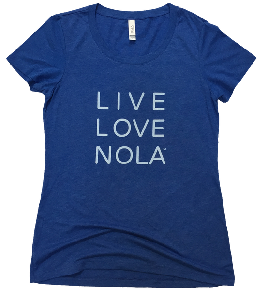 Live Love Nola Women's T shirt in Blue