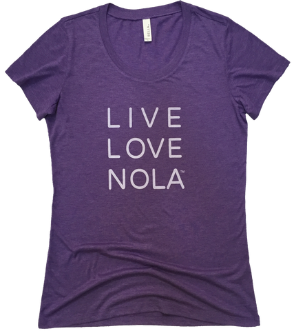 Live Love Nola Women's T shirt in Purple