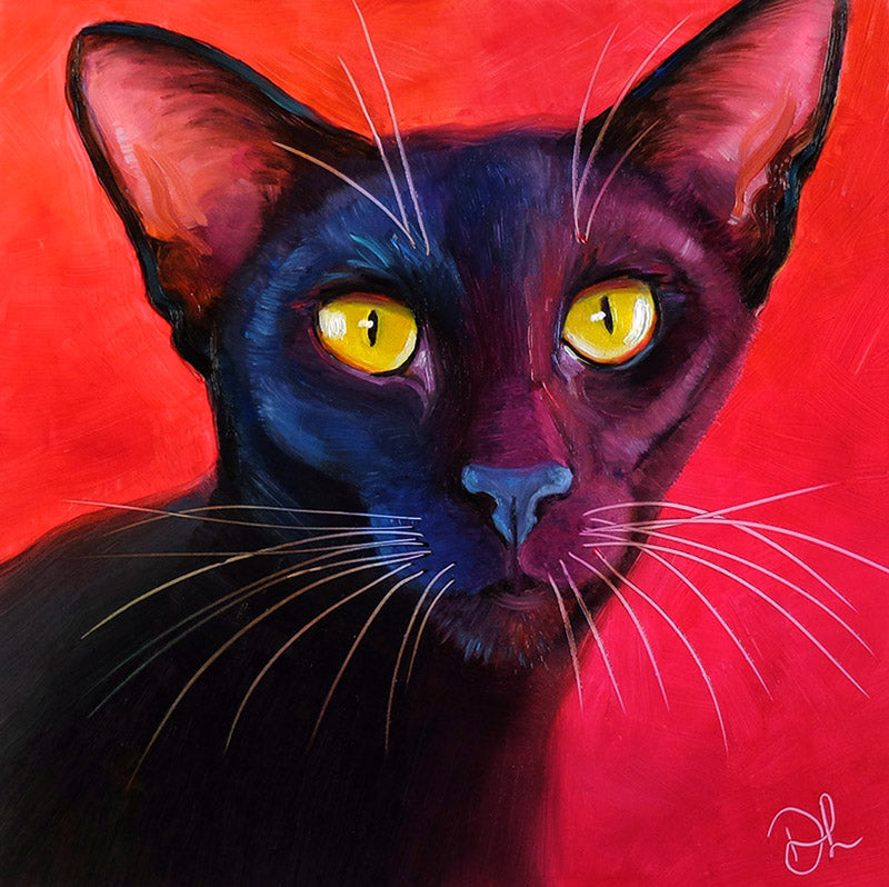 Jezebel - Black Oriental Cat Painting