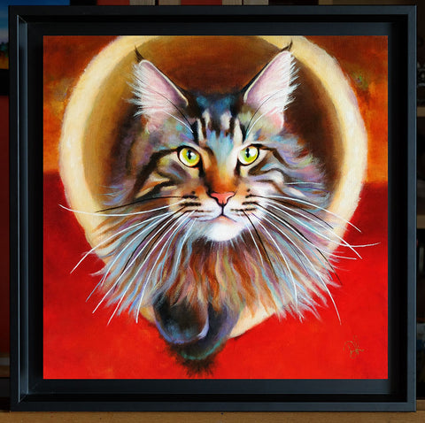 A maine coon painting in a floater frame
