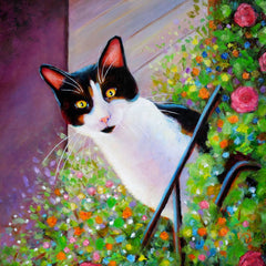 Balcony Cat - 12x12 inch acrylic painting on a panel - sold