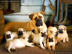 Bullmastiff and puppies in oils