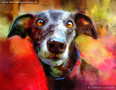 Milly Many Coats a digital contemporary style painting of a greyhound