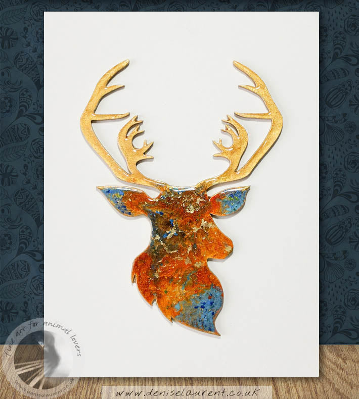 8x6 inch stag in resin