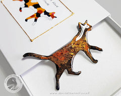 walking cat brooch in a gift box