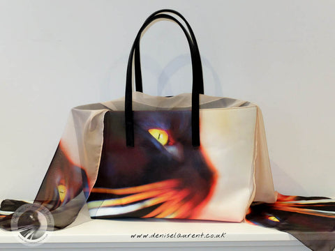whisker face leather tote and scarf
