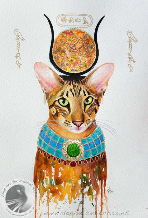 Pharaoh Cat - watercolour and gold and copper leaf