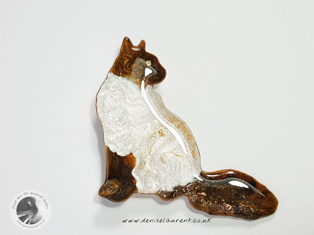 Longhaired Cat Brooch - Coco