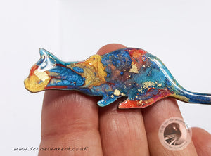 Crouching Blue Cat Brooch