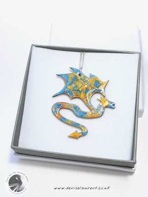 Dragon Necklace - Blue Red and Gold