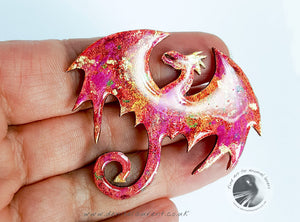Dragon Brooch In Pink and Gold