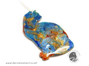 Cat Necklace - Double Sided Blue Orange and Gold