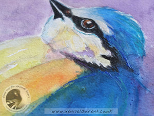 "Fat Blue Tit - 16""x12"" Watercolour Painting"