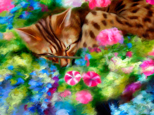 Hanging Basket - Bengal Cat Print