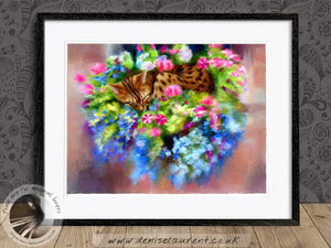 bengal cat and flowers artwork framed