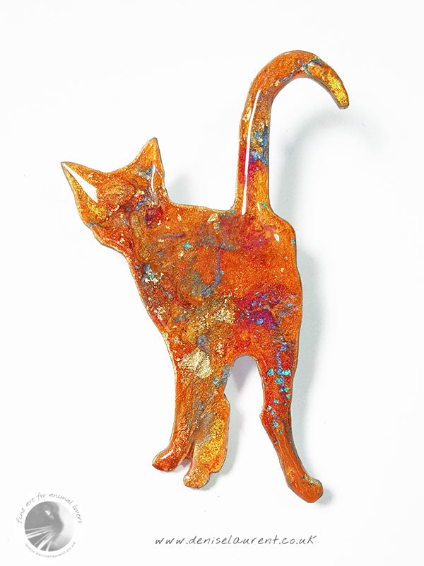 Standing Cat Brooch - Ginger