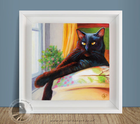 "Harry In The Window - 8""x8"" Acrylic Painting Framed"
