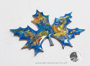 London Plane Blue Leaf Brooch