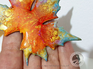 London Plane Leaf Brooch - Red Gold Blue