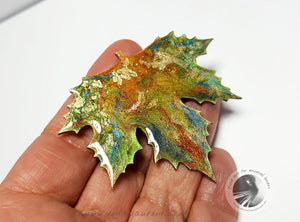 London Plane Green Copper Leaf Brooch