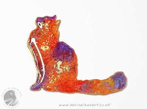 Longhaired Cat Brooch - Poppy