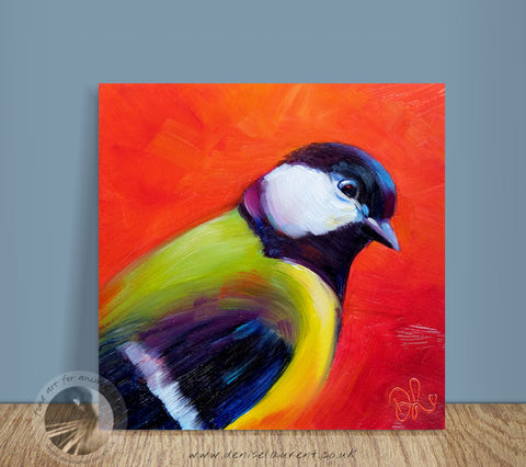 "Red Tit - 6x6"" Oil Painting"