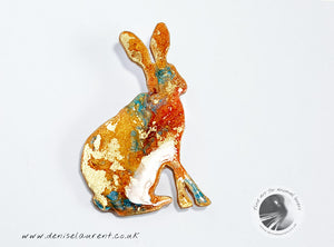 Hare Brooch - Orange and Gold