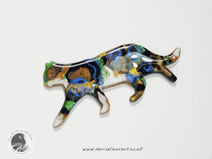 Strolling Tabby Cat Brooch