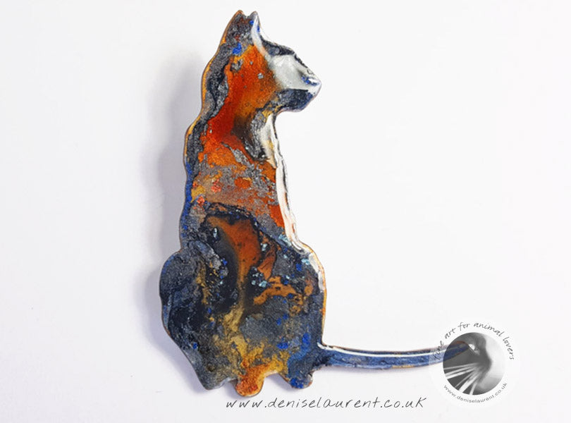 Multi Coloured Cat Brooch