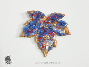 Blue Sycamore Leaf Brooch