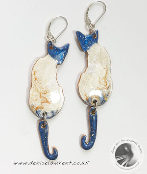 A Pair of Reversible Siamese Cat Earrings