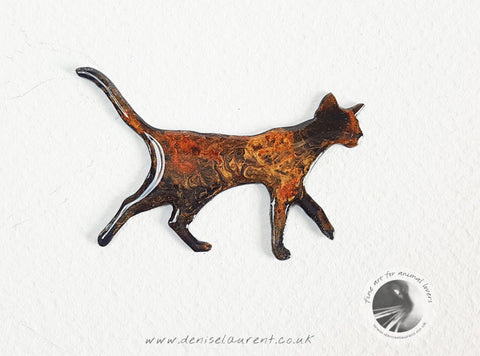 Walking Red Gold Black Cat Brooch