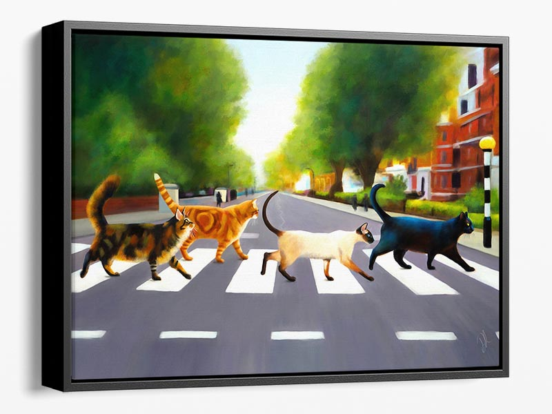 Abbey Road Cats - Large Framed Canvas Print
