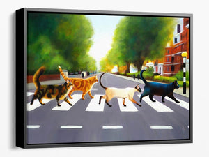 Abbey Road Cats - Framed Canvas Print