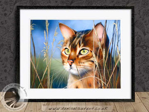 brown bengal cat framed artwork
