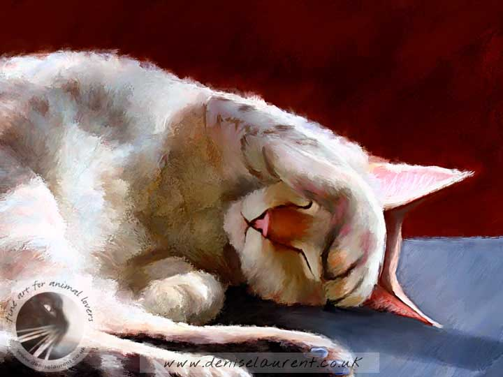 snow bengal cat asleep art print